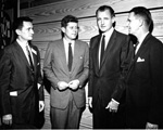 Stephen O'Connell, John F. Kennedy, George Smathers, and J. Wayne Reitz at the Florida Blue Key Banquet during University of Florida Homecoming.