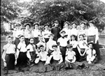 Female students of East Florida Seminary with an instructor in the middle.