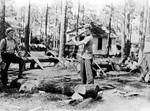 Chopping wood at Hazzard Neck Camp