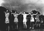 Women in an archery class at the P. K. Yonge Laboratory School on the University of Florida campus