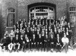 Large group of men outside Johnson Hall on the University of Florida campus
