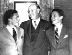 University of Florida president John J. Tigert with students Ed Rood and Stephen O'Connell