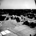 University of Florida campus aerial showing tennis courts and residence halls