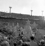 The Stadium with large float on the field.