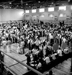 Student registration in Florida Gym at the University of Florida.