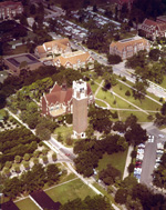 Aerial view of the southeast side of the University of Florida campus with Century Tower and University Auditorium.