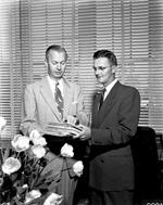 University of Florida President J. Wayne Reitz and former interim president John S. Allen in president's office in Tigert Hall.