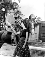 A Kappa Alpha fraternity member astride a horse hands an invitation to a young woman.