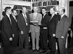 John J. Tigert, John Allen, and R. Wayne Reitz with others in the Chinsegut Hill Library