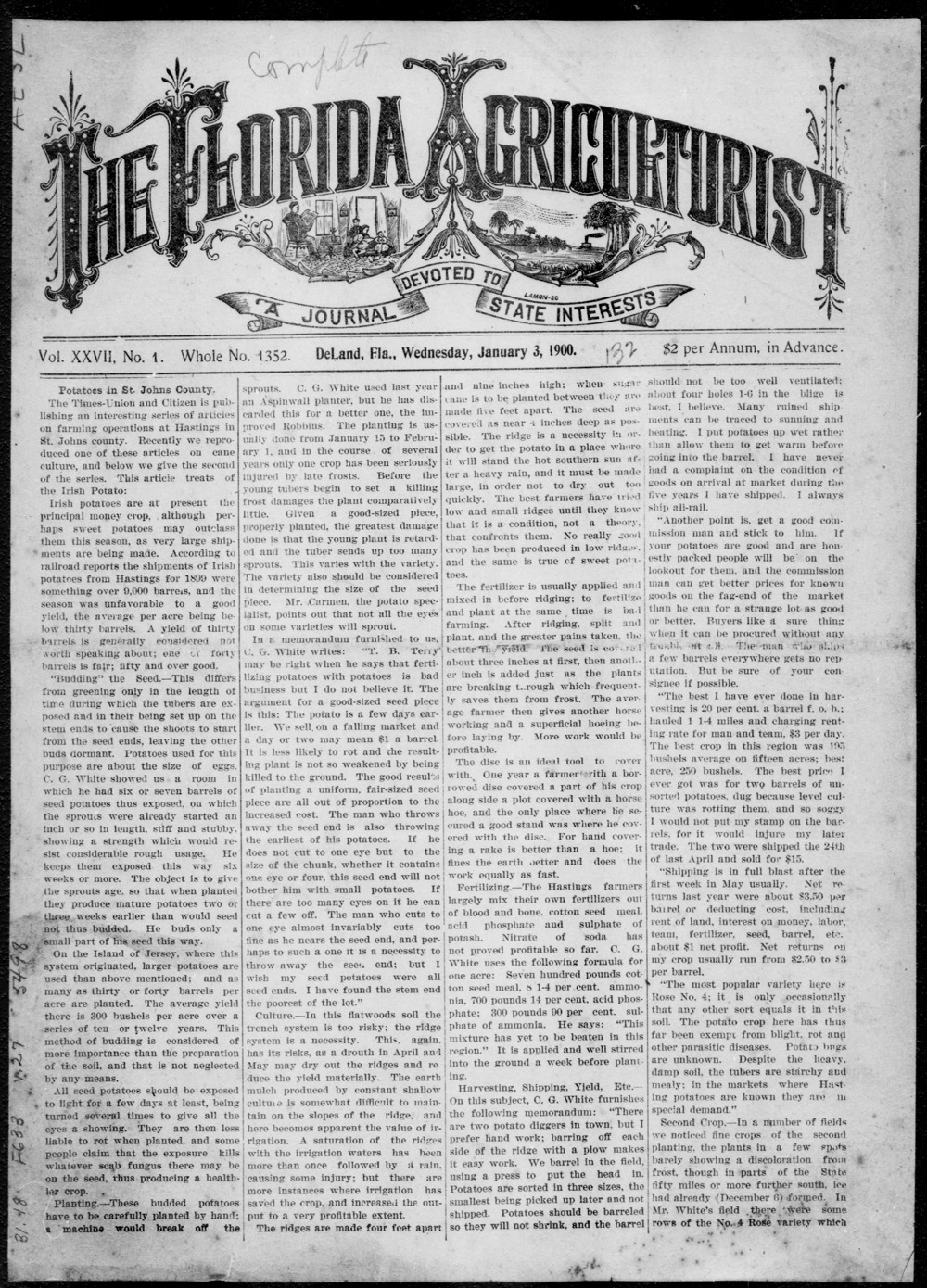 The Florida agriculturist - Page 1