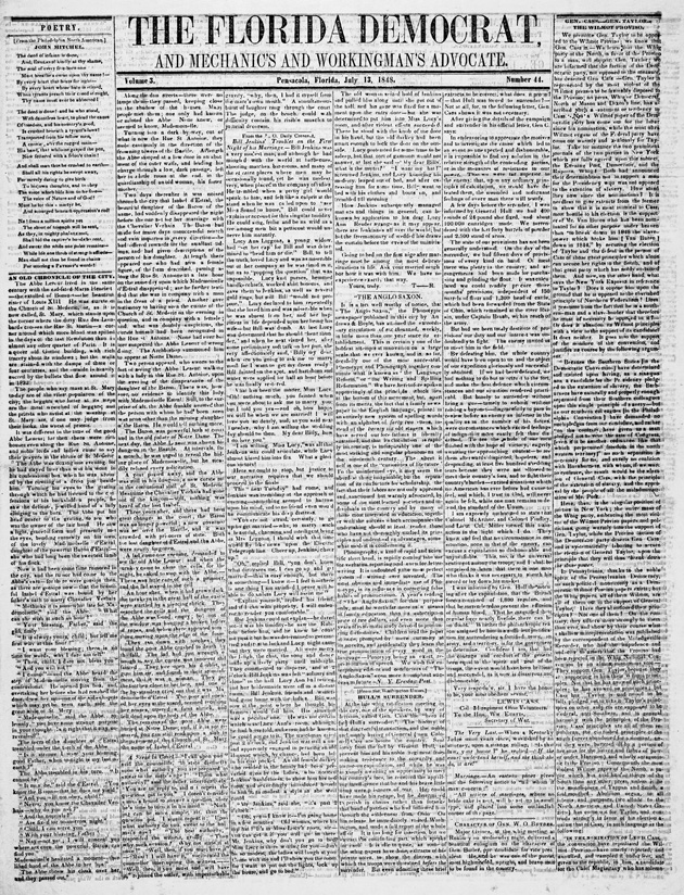 Florida Democrat and mechanic's and workingman's advocate (Pensacola, Fla.) - Page 1