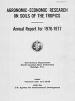 Research program on soils of the tropics, annual report for ...