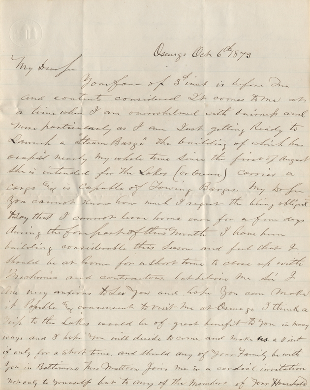 Letter to David Yulee regarding a steam barge, 6 October 1873. - Page 1