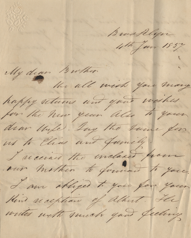 Letter from sister, 4 January 1857 - Page 1