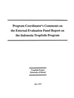 Program Coordinator's comments on the EEP (External Evaluation Panel) report on the Indonesia TropSoils Program