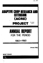 Adaptive Crop Research and Extension (ACRE) Project : Annual report for the period 1982-1983