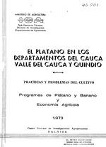 Platano en los departamentos del cauca valle del cauca y quindio ; practicas y problemas del cultivo