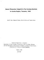 Beans (Phaseolus vulgaris) in the farming systems in Arusha Region, Tanzania, 1982