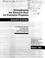 Strengthening the research base for extension programs : executive summary : a national study of attitutes and perceptions