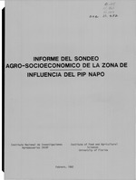Informe del sondeo agro-socioeconómico de la zona de influencia del PIP NAPO