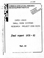 Final report of the USAID/CARDI Small Farm Multiple Cropping Systems Research Project #538-0015