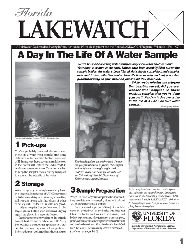 Florida Lakewatch newsletter. Volume X, Fall, 1997. - Page 1