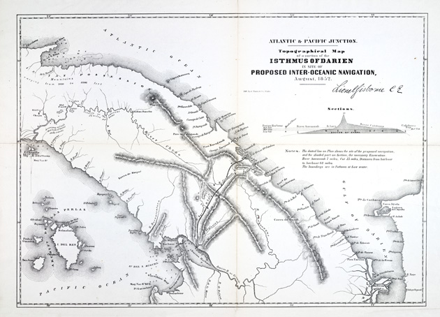 Topographical map of a portion of the Isthmus of Darien in site of proposed inter-oceanic navigation