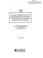 Report of the Ad Hoc Committee on the Department's Learning Environment for Women Graduate Students