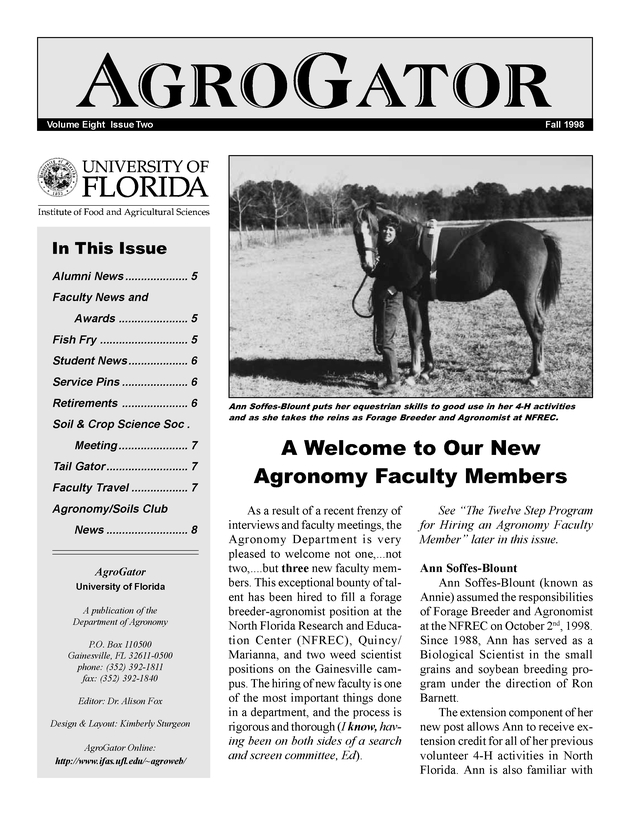 AgroGator. Volume 8 Issue 2. Fall 1998. - Page 1