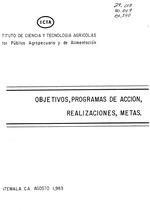 Objetivos, programas de acción, realizaciones, metas