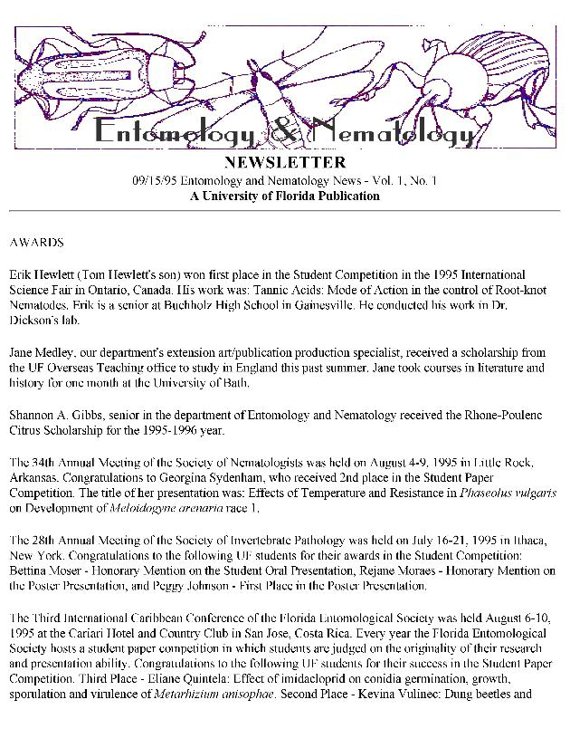 Entomology and nematology newsletter - Page 1