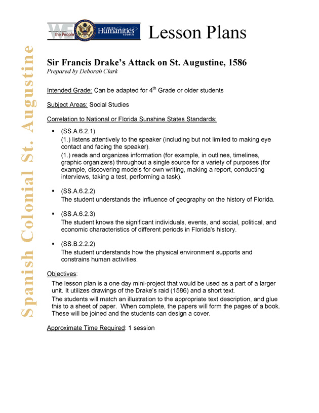 Sir Francis Drake's Attack on St. Augustine, 1586 - Page 1