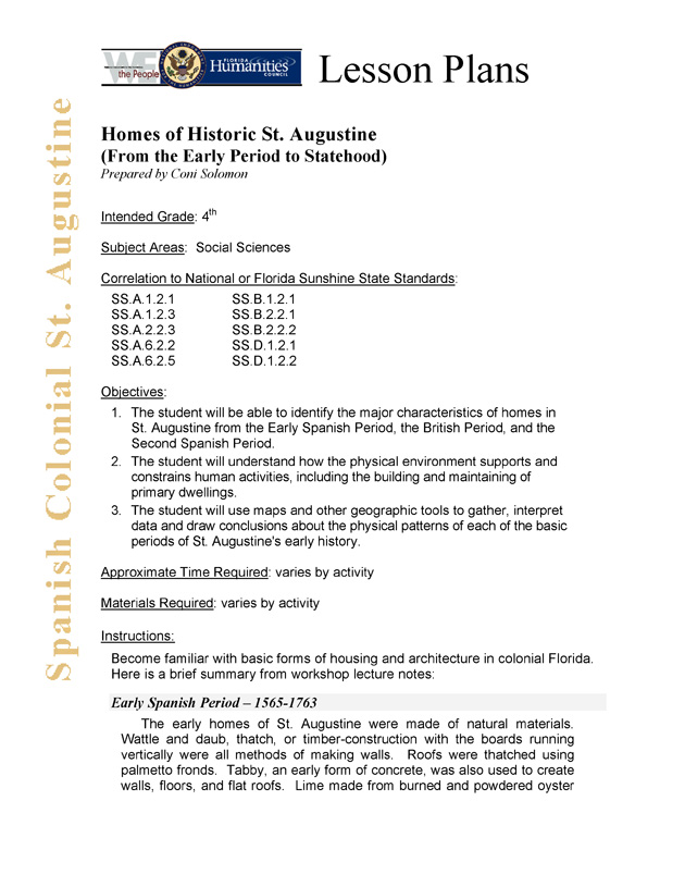 Homes of Historic St. Augustine (from the early period of statehood) - Page 1