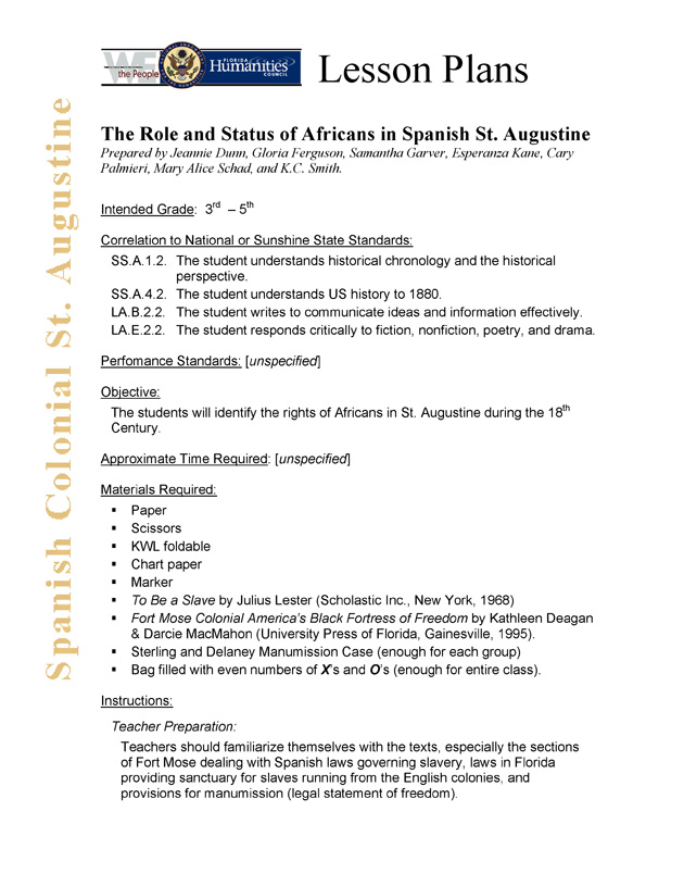 The Role of Status of Africans in Spanish St. Augustine - Page 1