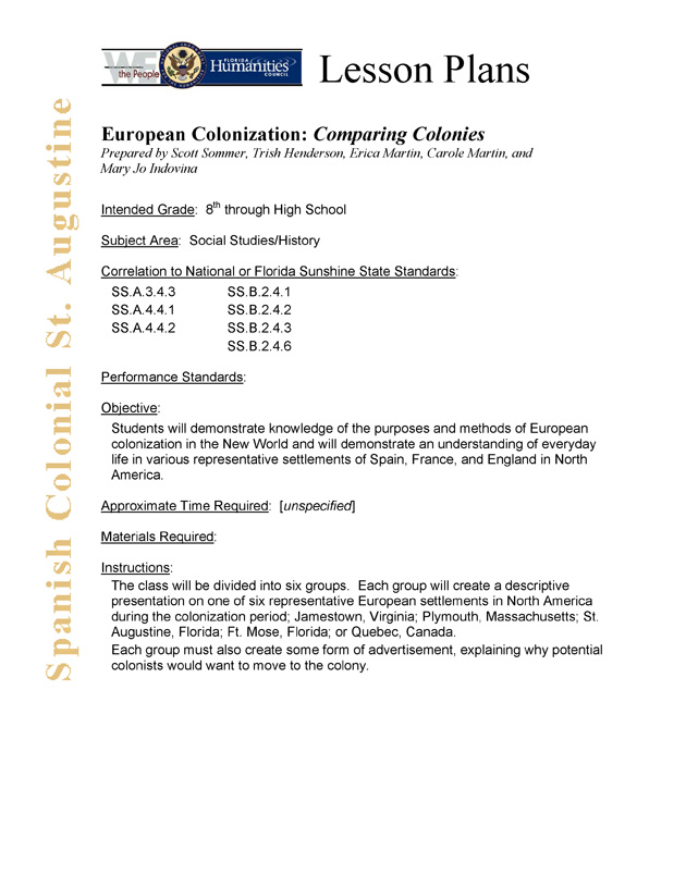 European Colonization: Comparing Colonies - Page 1
