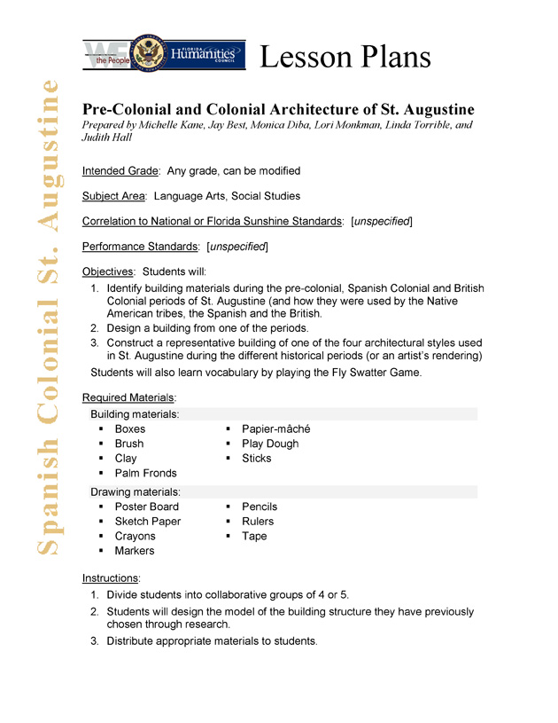 Pre-Colonial and Colonial Architecture of St. Augustine - Page 1