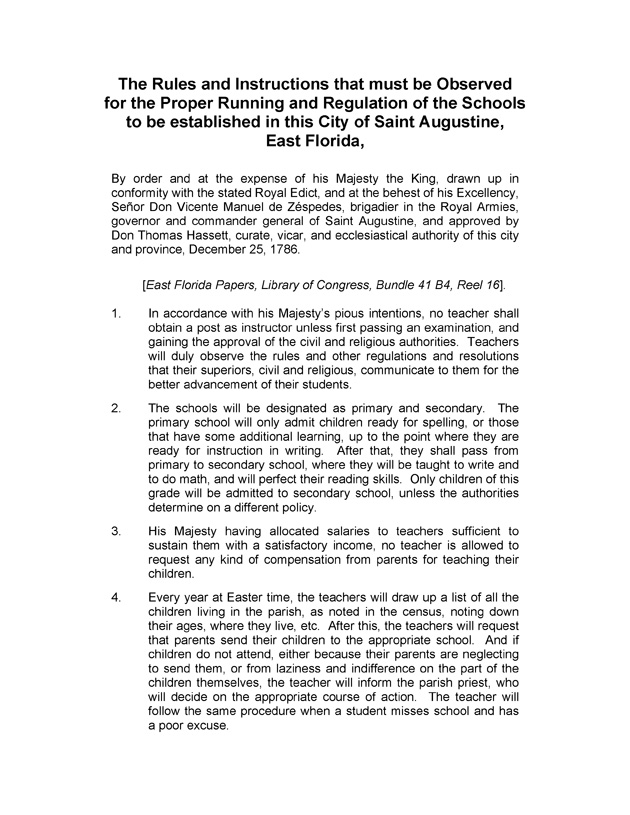 The Rules and Instructions that must be Observed for the Proper Running and Regulation of the Schools to be established in this City of Saint August - Page 1