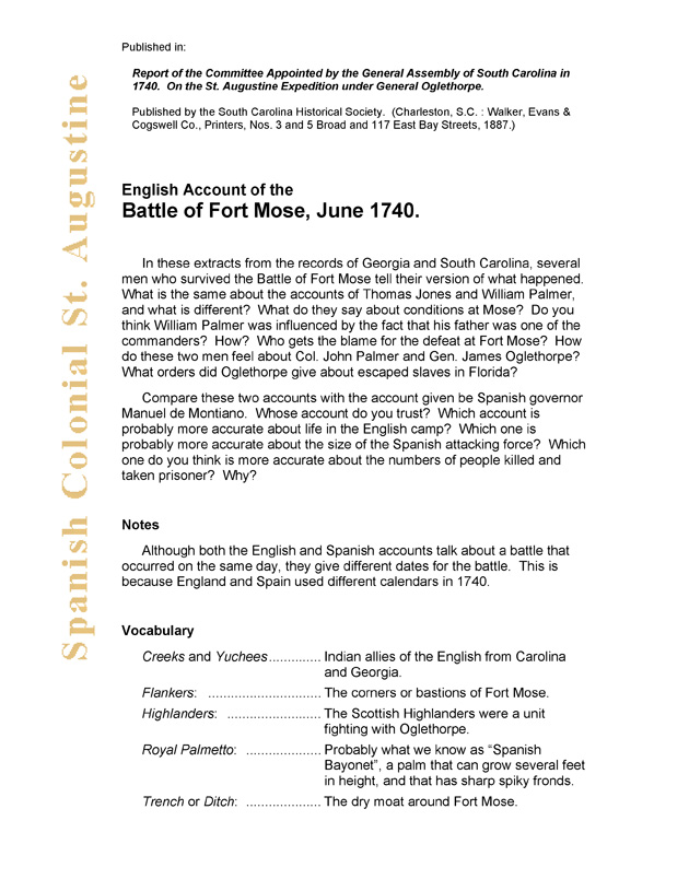 English Account of the Battle of Fort Mose, June 1740. - Page 1