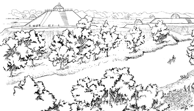 The town of Moundville, Mississippi (1200 A.D.) showing pyramid mounds