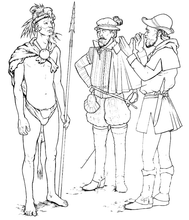 A Timucua warrior speaks with Spanish explorers