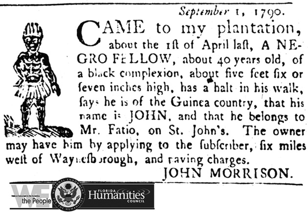 Slave notice, John Morrison, 1 September 1790