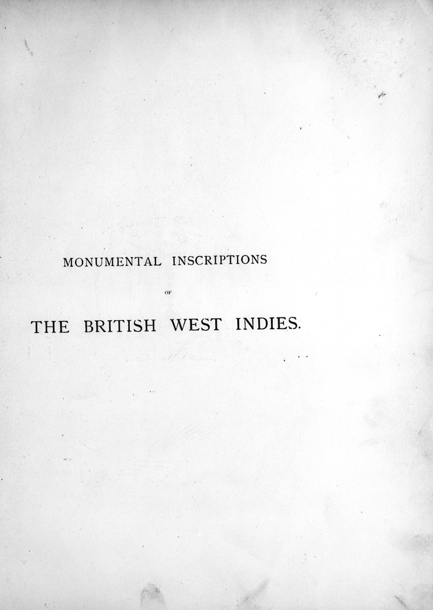 Monumental inscriptions of the British West Indies from the earliest date - Page i