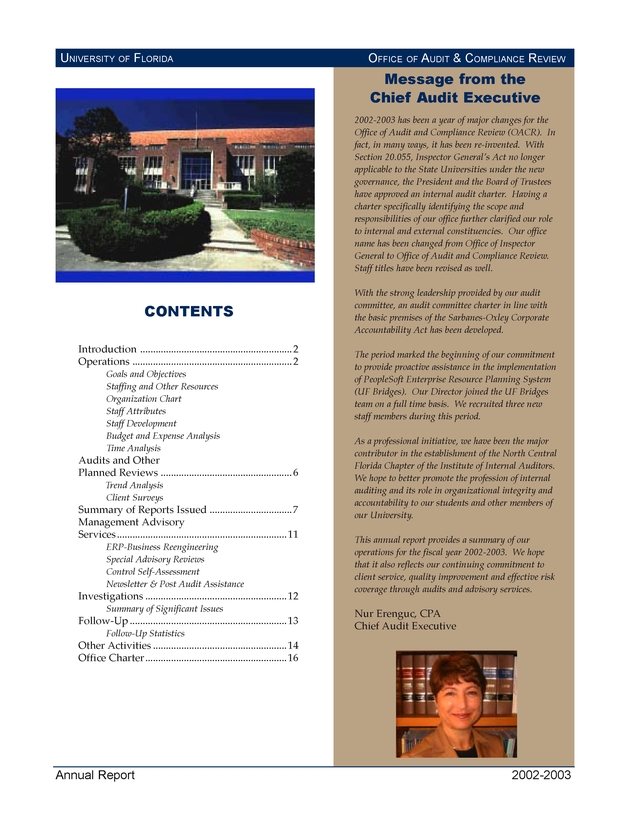 University of Florida Office of Audit and Compliance Review Annual Report - Page 1