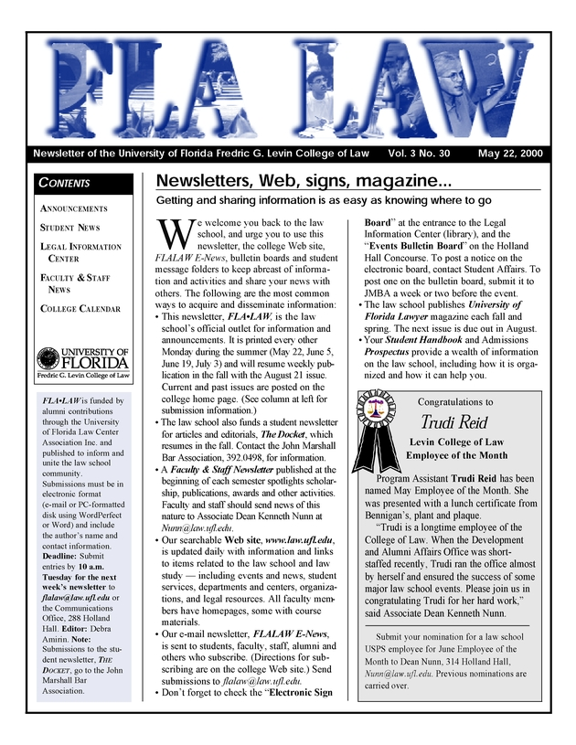 Fla law  newsletter of the University of Florida College of Law - Page 1