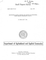 Institutional factors affecting the adoption of agricultural sector analysis methodology in LDC's