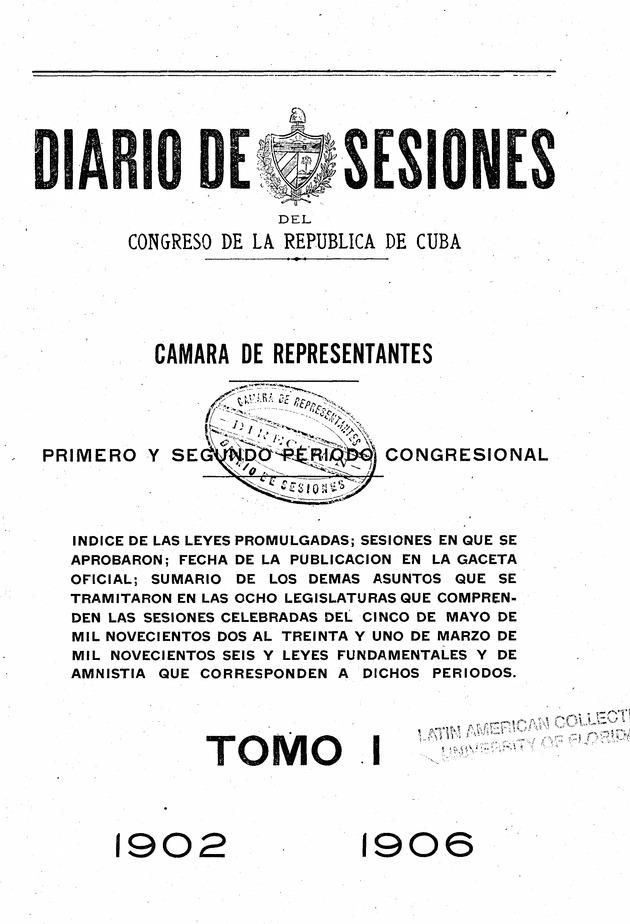 Diario de sesiones del Congreso de la Républica de Cuba -