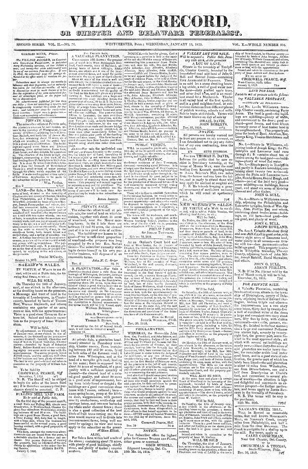 Village record, or, Chester and Delaware federalist - page 1