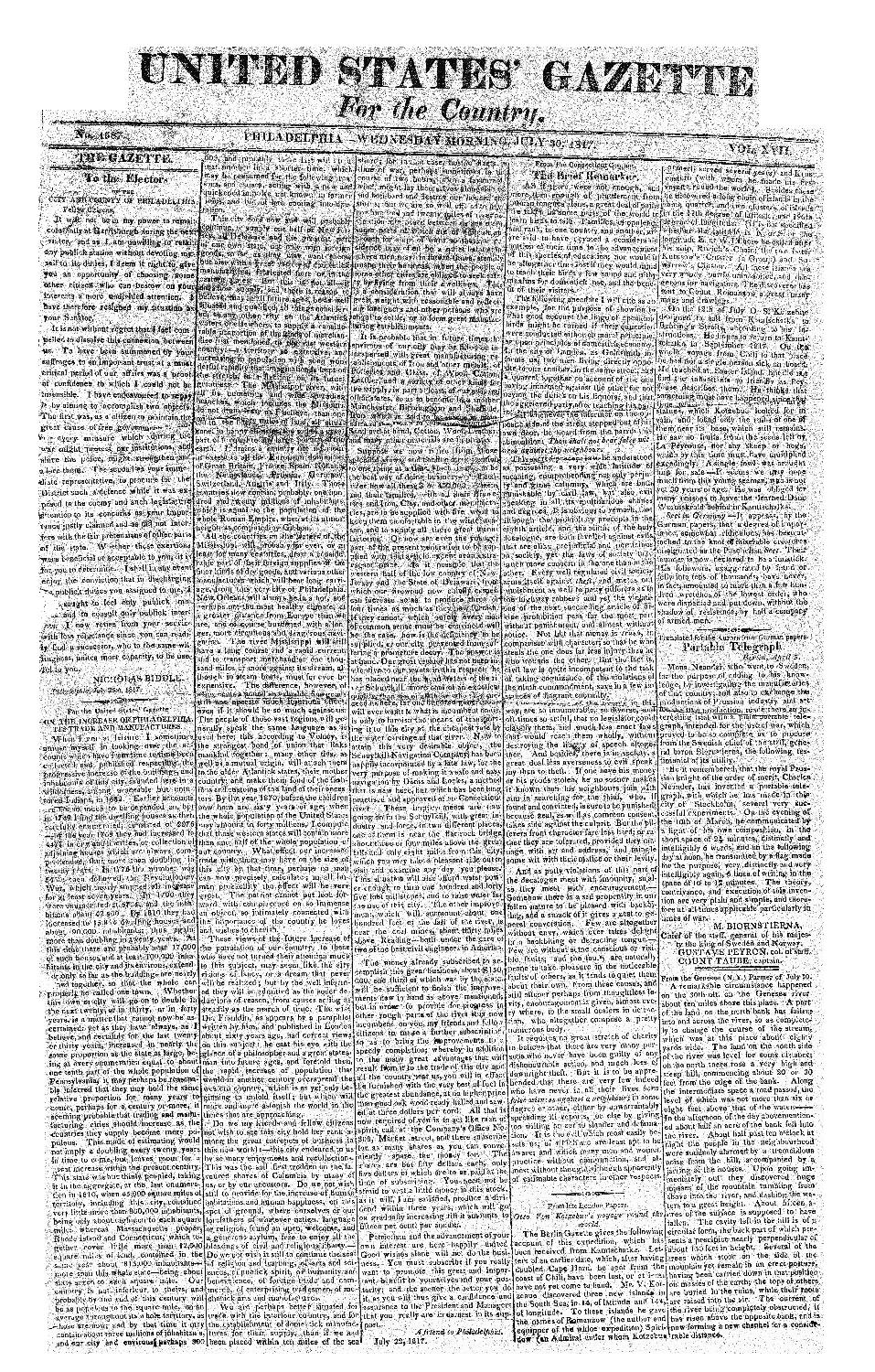 United States' gazette for the country - page 1