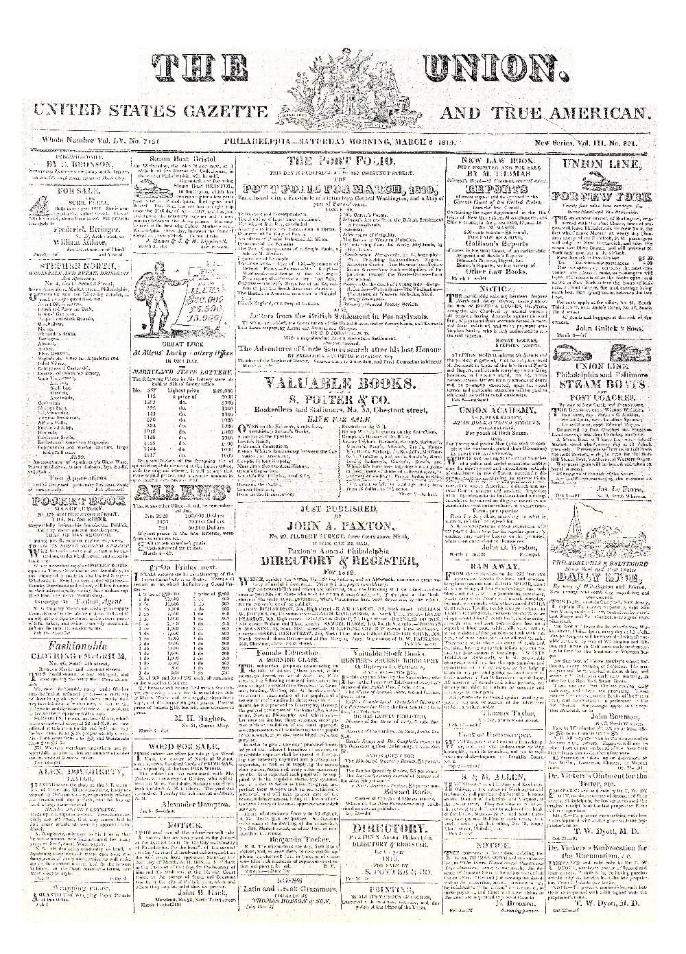 The union, United States gazette and true American - page 1