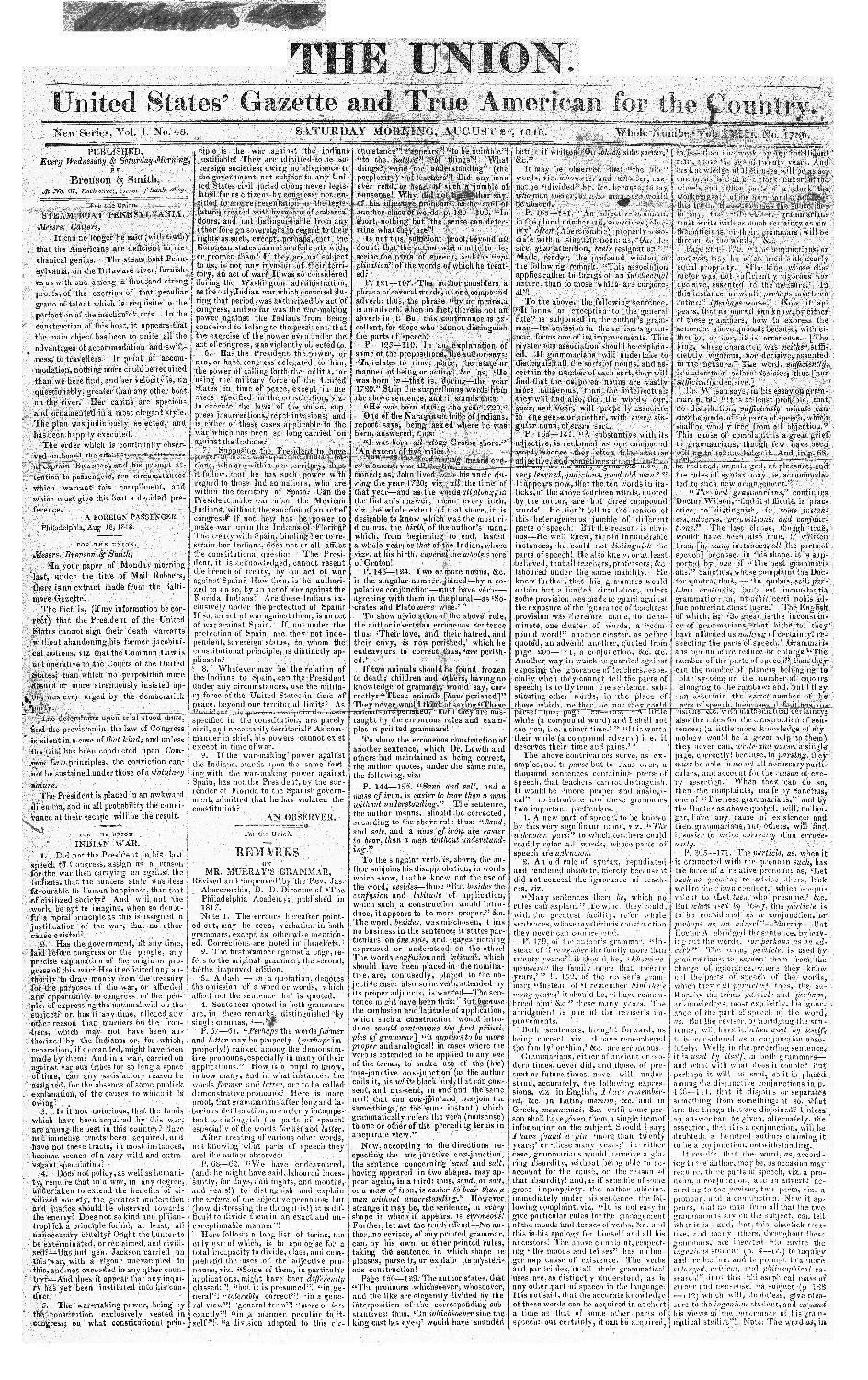 The Union, United States gazette, and true American for the country - page 1